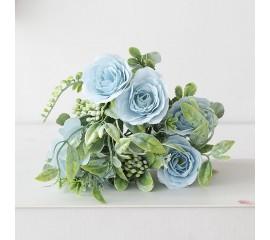 Букет розочки с зеленью - голубой