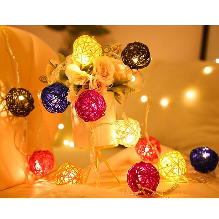 """Гирлянда ротанговые шары """"Цветной микс"""", 10 ламп, 1,5 м. на батарейках"""