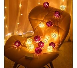 "Гирлянда ротанговые шары ""Фиолетовые + белые"", 40 ламп, 6 м. на батарейках"