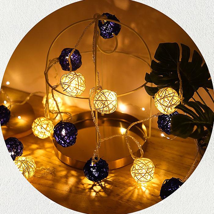 """Гирлянда ротанговые шары """"Синие + белые"""", 10 ламп, 1,5 м. на батарейках"""