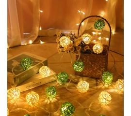 """Гирлянда ротанговые шары """"Зеленые + белые"""", 40 ламп, 6 м. на батарейках"""