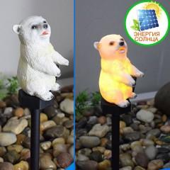 """Газонный светильник """"Белый мишка"""", на солнечной батарее"""