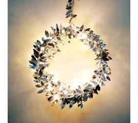 Гирлянда с серебряными листиками 20 ламп 2 метра