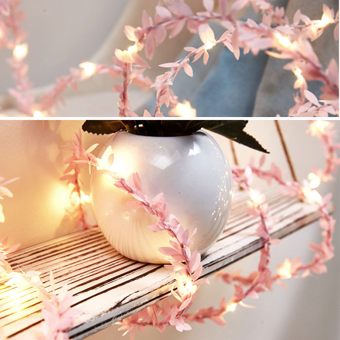 Гирлянда с розовыми листиками 20 ламп 2 метра