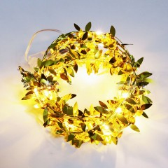 Гирлянда с золотыми листиками 50 ламп 5 метров
