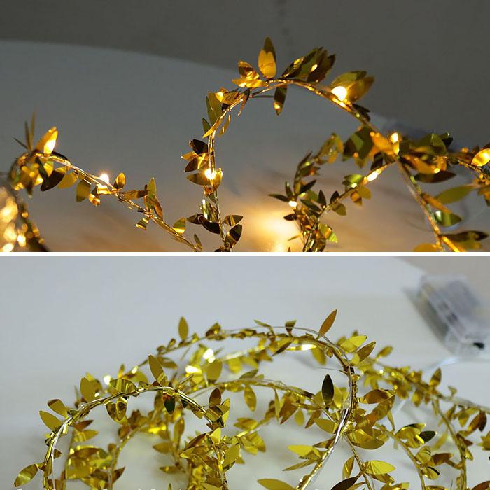 Гирлянда с золотыми листиками 20 ламп 2 метра