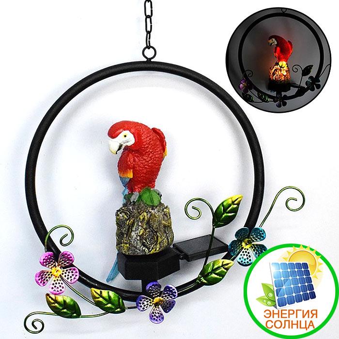 """Подвесной декор на солнечной батарее """"Попугай красный"""""""