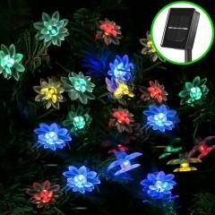 """Солнечная гирлянда """"Цветы лотоса"""" 50 ламп 7 м, цветная"""
