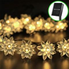 """Солнечная гирлянда """"Цветы лотоса"""" 30 ламп 4,5 м, теплый белый"""