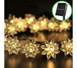 """Солнечная гирлянда """"Цветы лотоса"""" 20 ламп 3 м, теплый белый"""
