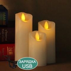 Воскова світлодіодна свічка з хитним вогником, 20 см, акумулятор, зарядка usb