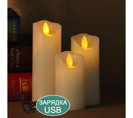 Восковая светодиодная свеча с качающимся огоньком, 10 см, аккумулятор, зарядка usb