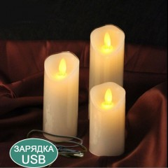 Воскова світлодіодна свічка з хитним вогником, 15 см, акумулятор, зарядка usb