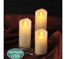Восковая светодиодная свеча с качающимся огоньком, 15 см, аккумулятор, зарядка usb