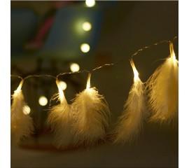 """Гирлянда """"Перья белые"""" 10 ламп, 1,5 м"""