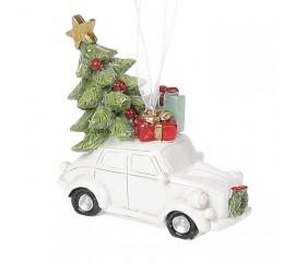 """Подвеска """"Белая машинка с елкой"""" 6 см"""