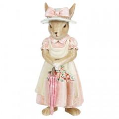 """Фигурка """"Зайчиха с розовым зонтиком"""" 18 см"""
