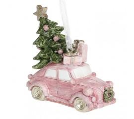 """Подвеска """"Розовая машинка с елкой"""" 6 см"""