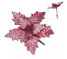 Пуансетия на клипсе - темно-розовая 16 см