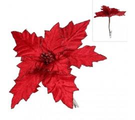 Пуансетия на клипсе - красная 16 см