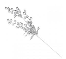 Веточка с ягодками - серебро 40 см
