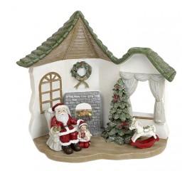 """Новогодний декор с подсветкой """"Санта у камина"""""""