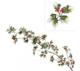 """Свисающая ветка """"Рождественник"""" с ягодами и блеском 100 см"""