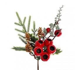 Веточка с елью, ягодами, шишками 24 см