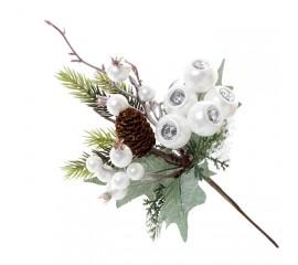 Веточка с белыми ягодками и шишкой 24 см
