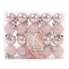 Набор елочных шаров 3 см розовый