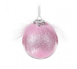 Елочный шар с перьями 8 см - розовый