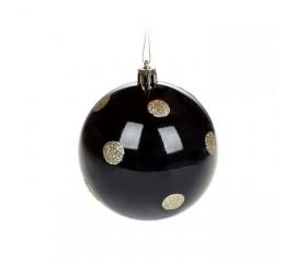Елочный шар 8 см - черный с золотом