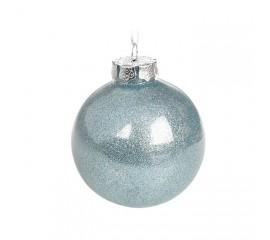 Елочный шар с глиттером 8 см - голубой