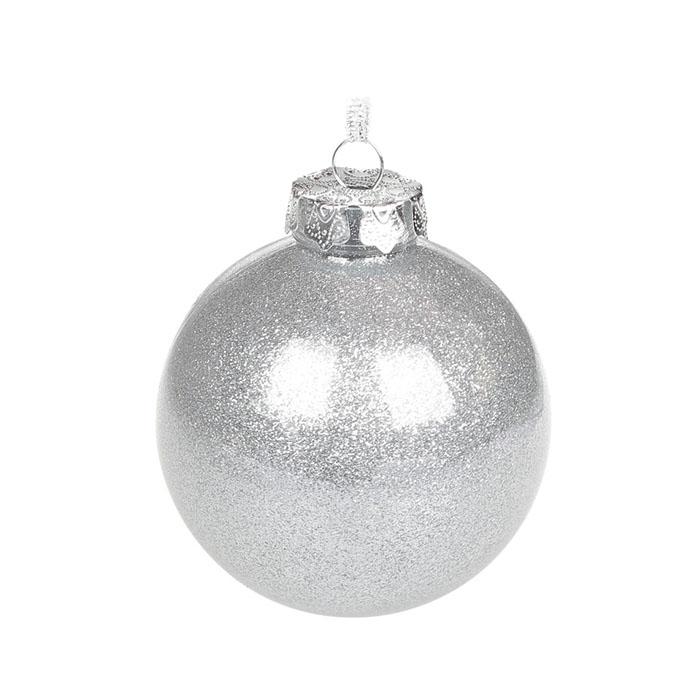 Елочный шар с глиттером 8 см - серебро