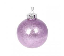 Елочный шар с глиттером 8 см - пурпурный