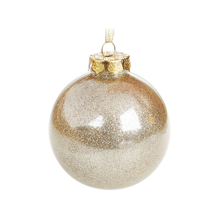 Елочный шар с глиттером 8 см - золото