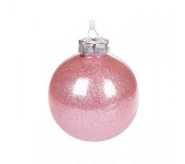 Елочный шар с глиттером 8 см - розовый