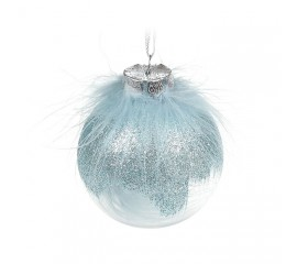 Елочный шар с перьями 8 см - голубой