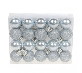 Набор елочных шаров 3см - голубые
