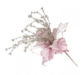 Головка магнолии с веточками розовая 28 см