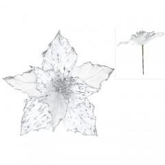 Головка пуансетия серебро 27 см