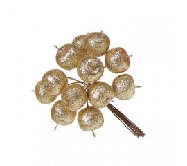 Яблочки в пучке золото 11 см