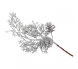 Веточка с шишкой серебро 20 см