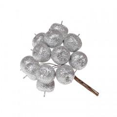 Яблочки в пучке серебро 11 см