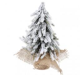 Елочка заснеженная в джутовом мешочке 20 см