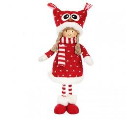 """Кукла в шапке """"сова"""" в красном платье"""