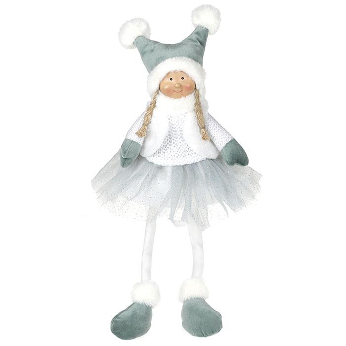 Кукла сидячая в мятной юбке 43 см