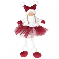 Кукла  сидячая в бордовой юбке 43 см