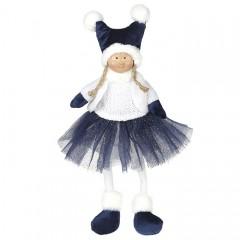 Кукла сидячая синей юбке 43 см
