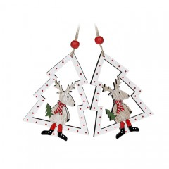 "Набор подвески ""Белые елочки с оленем"" 8 см"